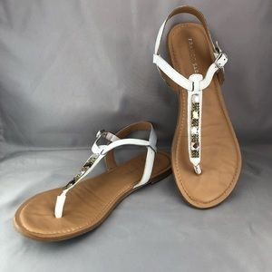 Franco Sarto White Jeweled Thong Sandals, 9/9.5